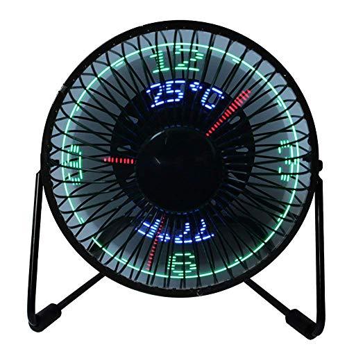JIAMA Ventilador LED USB Ventilador de Escritorio Pequeño con Indicación de la Fecha y Temperatura en Tiempo Real, Marco de Metal Alimentado por USB Mini Ventilador para el Hogar y la Oficina (CT)