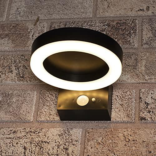 proventa® Aplique solar LED exterior 3.3W 400 lm. Sensor de luz y movimiento PIR. Luz blanca cálida 2.700 K. 3 Modos ajustables. Resistente al agua IP44. Sin cables