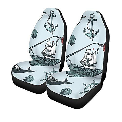 Autoseat Covers, 2 stuks, vintage, nautisch anker, vissen, stuur, boot, flessenstoel, voorstoelen, universele protector, 14-17 inch
