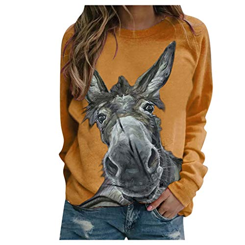 WooCo Womens Crewneck Long Sleeve Casual Thin Pullover Sweatshirts Animal Graphic Tops Shirts Jumpers Yellow