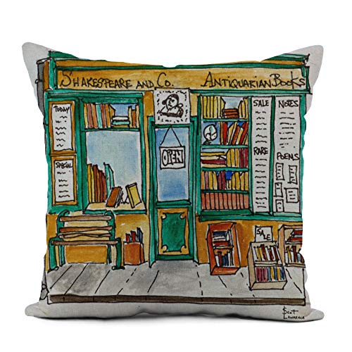 Topyee Throw Pillow Cover 20x20 Inch Watercolor Architecture Shakespeare Co Bookstore Paris Book Drawing France Home Decor Pillowcases Square Pillow Cases Cushion Covers for Sofa Couch Bed