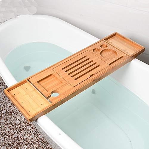 Bambus Premium Badewannen-Caddy, ausziehbare Luxus-Buchablage, Weinglas-Halter, Gerät (Tablet, Kindle, iPad, Smartphone) Tablett für ein Heim-Spa-Erlebnis, passend für die meisten Badewannengrößen
