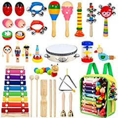 [A Complete Kids Musical Instrument Set] - Including 33pcs 18 types shaking, tapping, beating and blowing instruments. Better way to start music than with a percussion set for preschoolers. Great and creative birthday gift for kids, boys, girls and t...