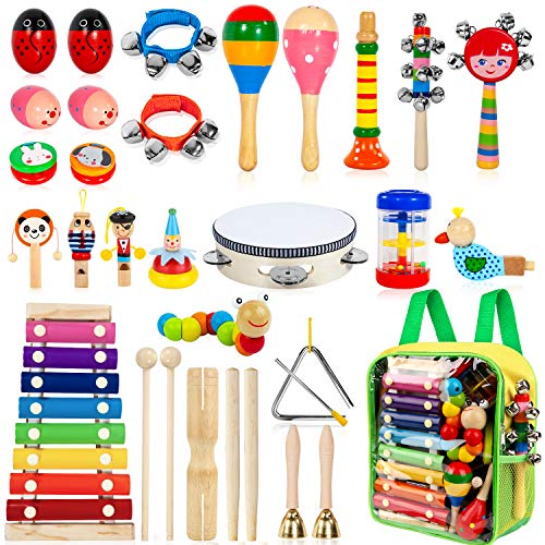 TAIMASI Kids Musical Instruments, 33Pcs 18 Types Wooden Percussion Instruments Tambourine Xylophone Toys for Kids Children, Preschool Education Early Learning...