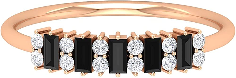 1/2 CT Baguette Cut Black Onyx and Diamond Minimal Ring (AAA Quality), 14K Solid Gold
