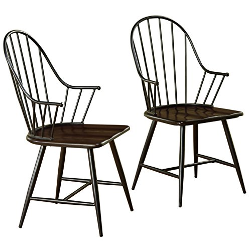 Target Marketing Systems Windsor Set Farmhouse Inspired Spindle Back Arm Chairs with Saddle Seat, Black/Espresso