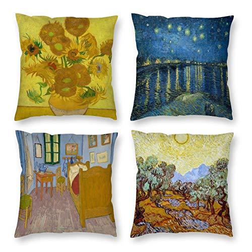 HOSTECCO - Set di 4 federe per cuscino astratto Vincent Van Gogh, 40 x 40 cm