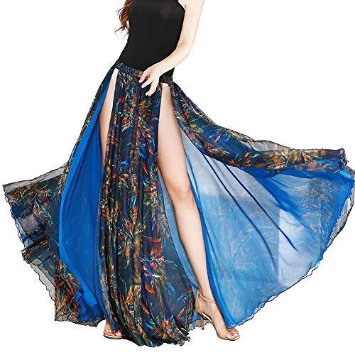 ROYAL SMEELA Spódnice do tańca dla kobiet Szyfon Maxi Spódnice do tańca brzucha Długa spódnica Kwiatowa Szczelina Duża Spódnica Swingowa Dwuwarstwowa Szyfon Flamenco Tancerz Strój Tańczący Kostiumy