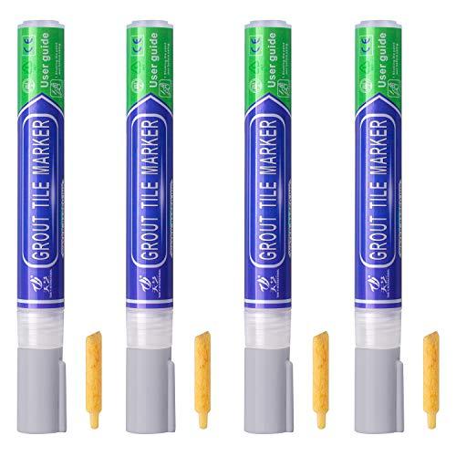 ABOAT Stift für Fugenmörtel, Fugenstift, Reparaturmarker, für Fliesen, Wand, Boden (4 Stück, hellgrau)