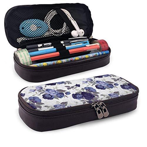 Caja de lápices de cuero de rosas azules Bolsa de bolígrafo con cremallera Material escolar para...
