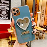 GGDK Luxurious Mirror case for iPhone X/11/12 pro max,Makeup Mirror Mobile Phone case, Heart-Shaped Mirror Frame Protective case Blue for iPhone Xs/X
