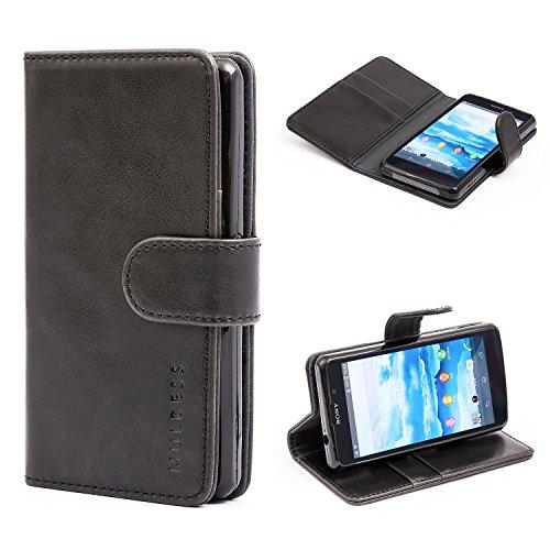 Mulbess Handyhülle für Sony Xperia Z1 Compact Hülle Leder, Sony Xperia Z1 Compact Handytasche, Vintage Flip Schutzhülle für Sony Xperia Z1 Compact Hülle, Schwarz