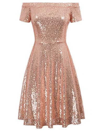 GRACE KARIN Knielang perlen Kleid sexy Glitzer Kleid Abendkleid mit ärmeln schulterfreie Kleider CL891-2 S