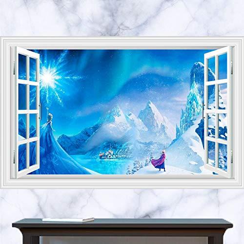 GOGR 3D Cartoon Wall Stickers Frozen Fake Window Wall Stickers Elsa Snow White Queen Cartoon Anime Waterproof Sticker Decorative Wallpaper 60 * 90CM B341