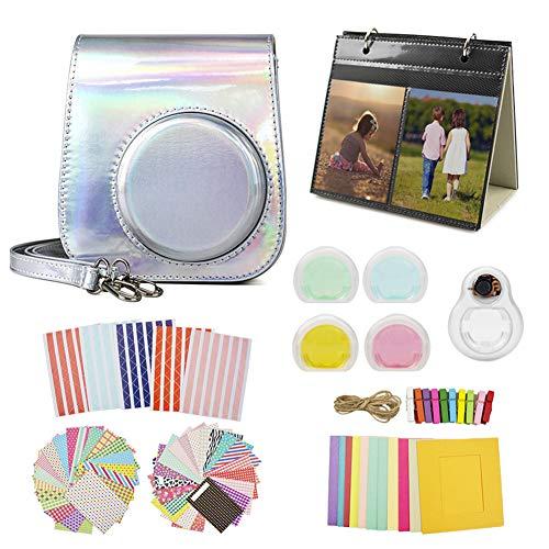 MUZIRI KINOKOO Mini 11 Schutzhülle für Fujifilm Instax Mini 11, Schutzhülle mit 8 nützlichen Zubehör-Kamerataschen, 4 Farben, Filterobjektiv und Selfie-Objektiv, silberfarben