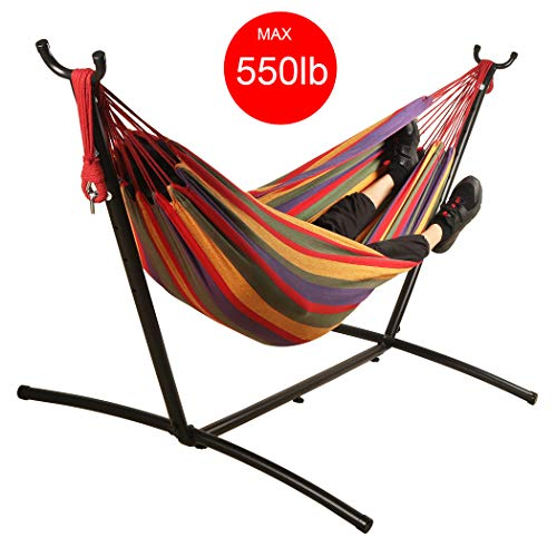 Mayhawk Double Cotton Hammock with 9ft Space Saving Steel Stand, Including Portable Carrying Case, Easy Set Up. 550 lb Capacity (Red)