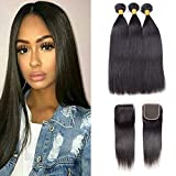 10A Unprocessed Human Hair Weaves Straight Brazilian Hair Bundles with Closure Straight Hair Bundles Weave Bundles with Lace Closure Free Part Natural Color(10 12 14 + 10)