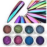 Shogpon 8 Farben Nagel Glitzer Super Glänzend Spiegel Chrom Glitter Funkeln Nagelpuder Maniküre Pigment - Ultra-funkelnder Optischer Chamäleon Zauberspiegel Pulver