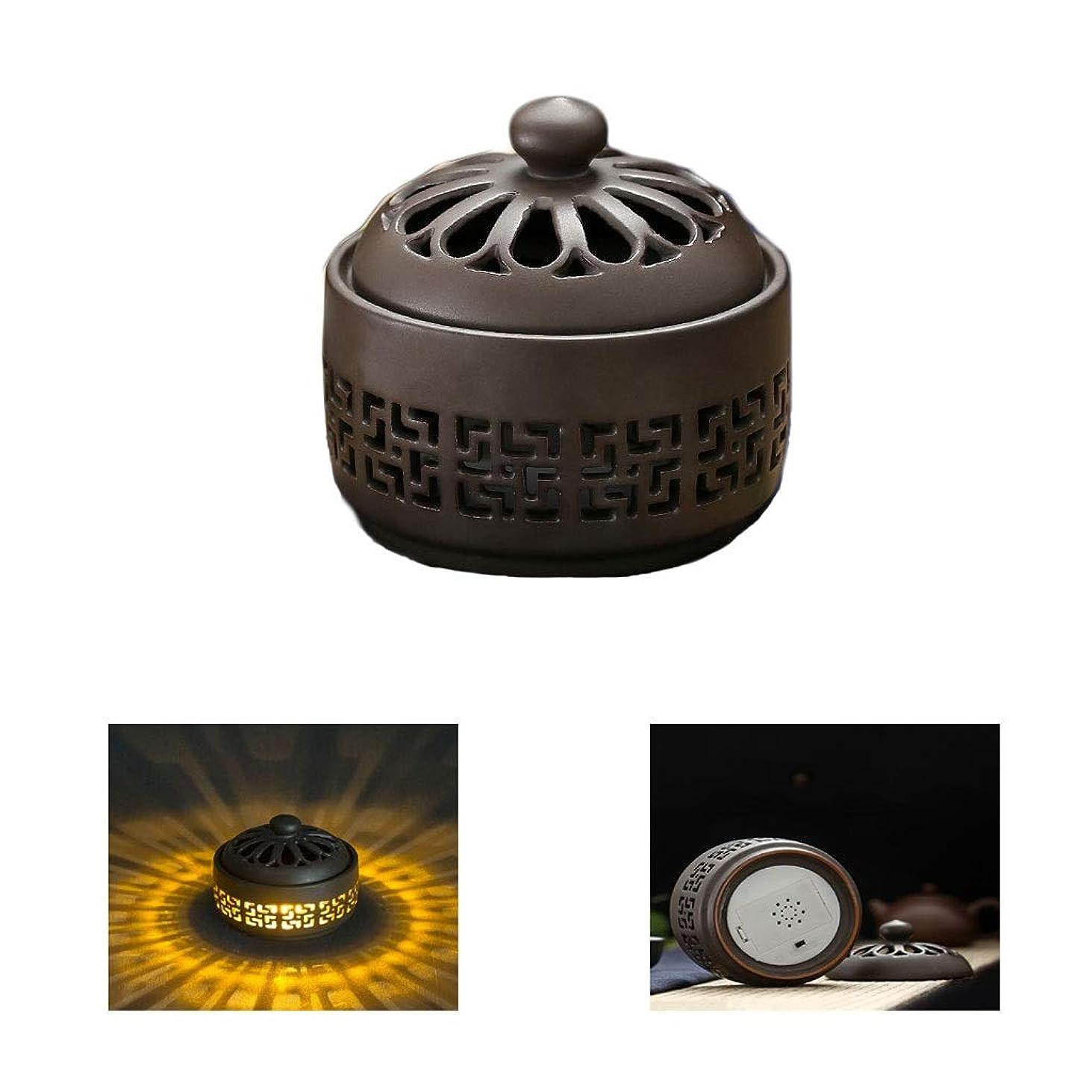 欠如識別サンダーホームアロマバーナー LED暖かい光香バーナーレトロノスタルジックなセラミック香炉高温アロマセラピー炉 アロマバーナー (Color : Earth tones)