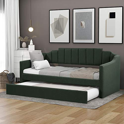 Twin Daybed with Trundle, Upholstered Twin Size Daybed Sofa Bed for Bedroom Living Room No Box Spring Needed (Green, Twin Daybed with Trundle)