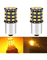 ALOPEE -(Pack van 2) Helder Geel LED Auto Richtingaanwijzer Vervanging Lamp voor Stock#1056 PY21W 7507 12496, met 33 stks 2835 Chips, No-Polarity, 12V-24V.