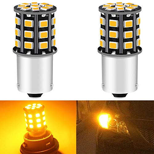 2-Pack 1056 BAU15S 7507 12496 Car Turn Signal Lights Bulbs - 12V-24V Extremely Bright Amber/Yellow 2835 33 SMD LED Light Bulb - Replacement for Tail Blinker LED Bulb Light
