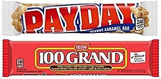PAYDAY Peanut Caramel Bar 1.85 oz & 100 Grand 1.5 oz (Pack of 12) By CandyLab