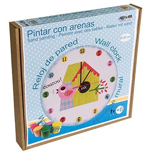 Arenart | Lámina Reloj CU-Cut Ø30 cm | para Pintar con Arenas de Colores | Manualidades para Niños | Dibujo Infantil | Pintar por números | +6 años