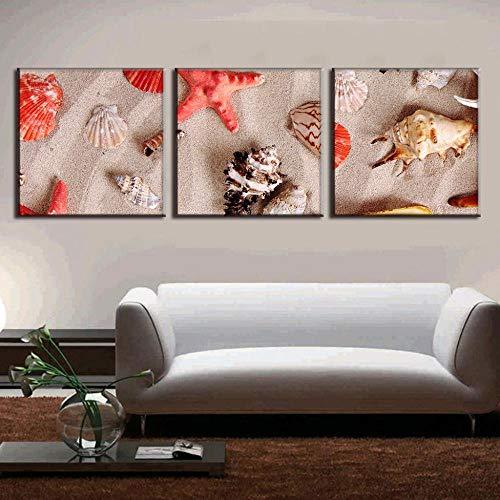 DASHBIG 3 Piezas de Lienzo de Arte con Estrellas de mar y Conchas Marinas Lienzo Impreso Cuadros de Pared para decoración de Sala de Estar | 40x40cmx3 sin Marco