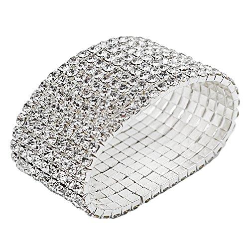JSEA - Pulsera elástica para mujer con diamantes de imitación, 1 – 10 filas