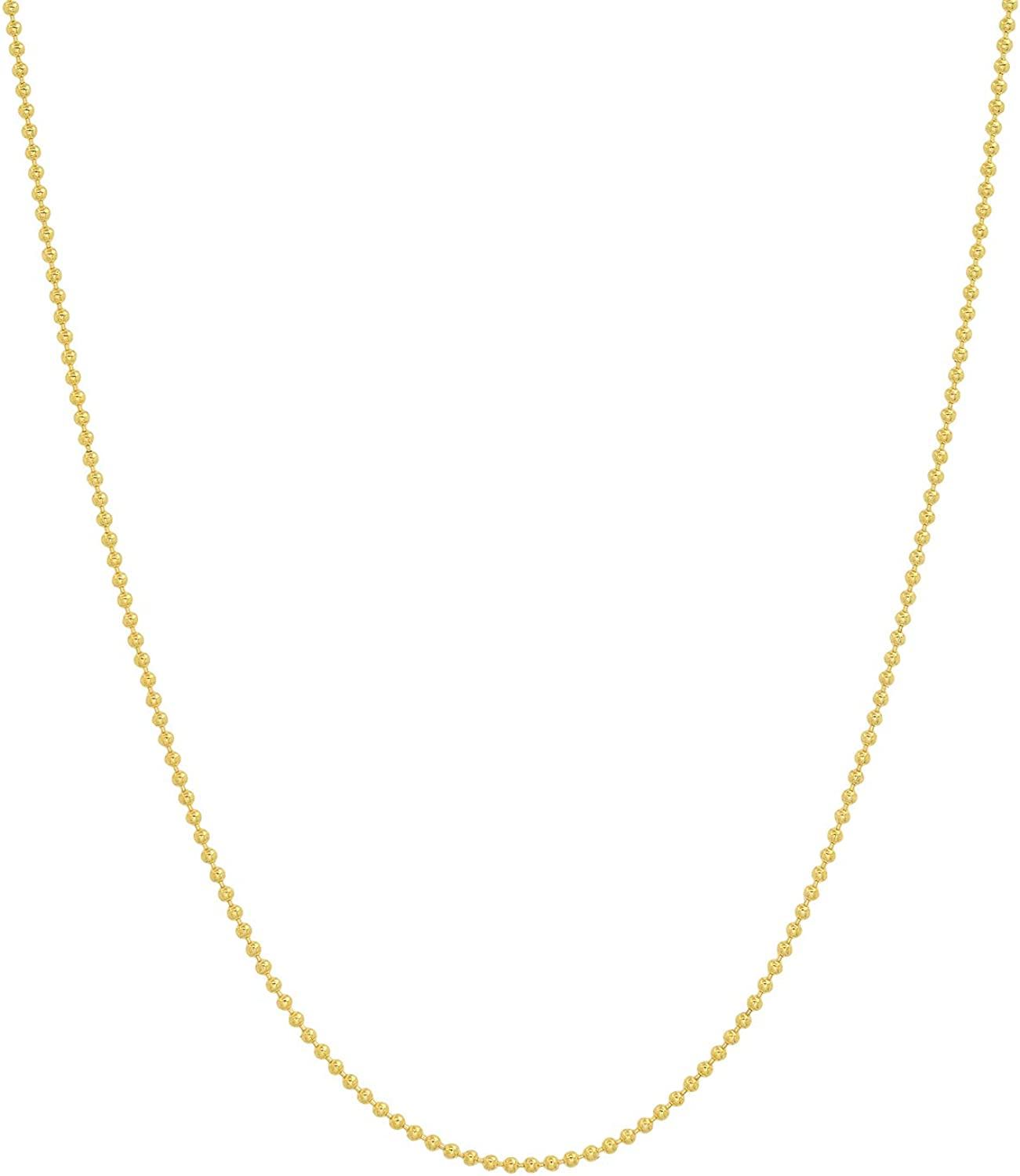 Jewelry Pilot 14K Yellow Gold 1mm Ball Link Chain Necklace with Spring Ring Clasp