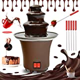 Mini Chocolate Fondue Fountain - wuyule 3 Tiers Electric Melting Machine Chocolate Fountain with 6pcs Iron Sticks Mini Hot Chocolate Fondue Pot,Easy to Assemble,Perfect for Nacho Cheese, BBQ Sauce, Ranch, Liqueurs