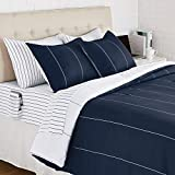 AmazonBasics Reversible Microfiber Bed-in-a-Bag with Elastic Storage Pockets - Full/Queen, Navy Stripe
