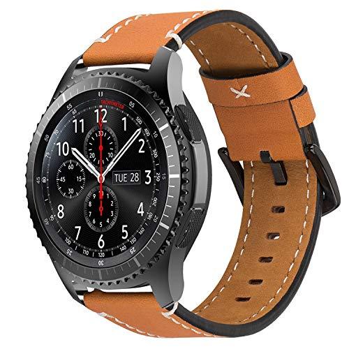 iBazal Gear S3 Frontier Classic Armband 22mm Lederarmband Armbänder Uhrenarmband Lederband Ersatz für Samsung Galaxy Watch 46mm,Huawei GT/Honor Magic/2 Classic,Ticwatch Pro Herren Uhr Bands - Braun