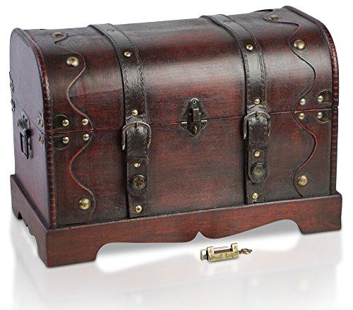 Brynnberg Scrigno del Tesoro Vintage Bauletto Stile Antico per Accessori Gioielli Oggetti di Valore, Cassaforte in Legno, Idea Regalo Decorativa 40x23x27cm