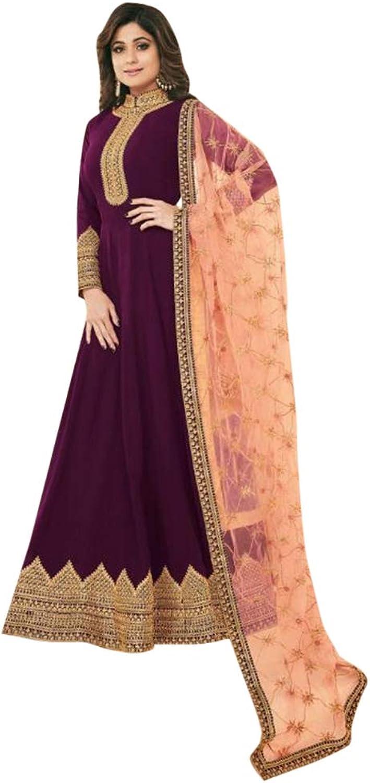 Purple Designer Abaya style Anarkali Salwar Suit for Women Indian Muslim dress Party wear 7656
