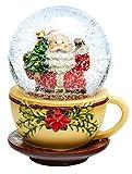 SIKORA SK11 - Palla di neve in vetro per bambini, motivo: Babbo Natale nella tazza, diametro: 65 mm, palline di neve