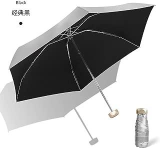 AUWANGAOFEI UV Sunscreen Flat Silver Plastic Umbrellas Small Fresh Dual Umbrella Barometer (Color : Black)