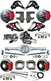 2' DROP SUSPENSION & WILWOOD BRAKE SET FOR 55-57 CHEVY, CURRIE REAR END & AXLES, 9' FORD POSI-TRAC 3RD MEMBER, RED CALIPERS & 11' DRILLED ROTORS, SPINDLES, MASTER CYLINDER, BOOSTER, CONTROL ARMS