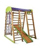 Kinder zu Hause aus Holz Spielplatz mit Rutschbahn Karapuz Kletternetz Ringe Kletterwand