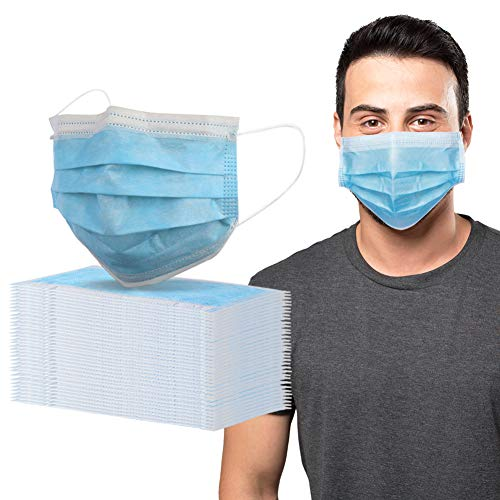 QBK 50 Pack Disposable Face Mask, 3 Layers 3 Ply Blue Face Masks Pack of 50