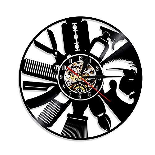 BFMBCHDJ Waschen und Blasen Friseur Vinyl Schallplattenuhr Kreative Retro Nostalgic Home Decoration Uhr Wanduhr A5 Mit LED 12 Zoll