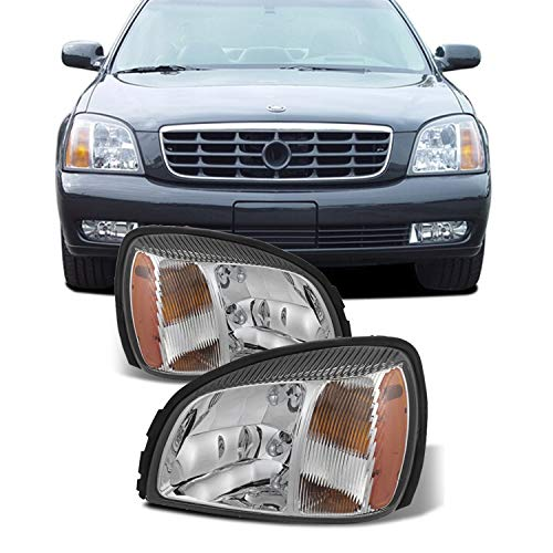 For 00-05 Cadillac Deville Chrome Clear Headlights Front Lamps Direct Replacement Pair Left + Right
