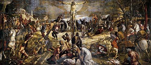 """Jacopo Tintoretto The Crucifixion 1565 Scuola Grande di San Rocco - Venice 30"""" x 13"""" Fine Art Giclee Canvas Print (Unframed) Reproduction"""