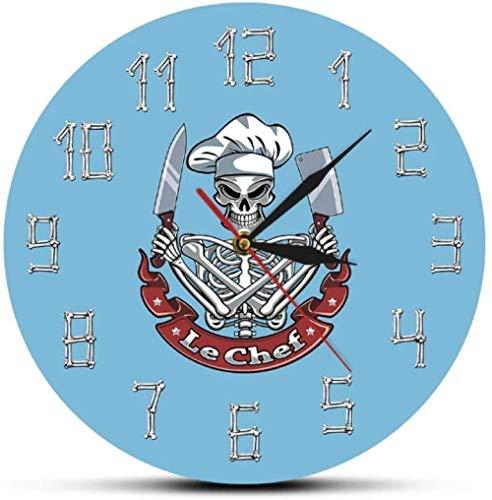 quanjiafu Reloj De Pared Divertido Le Chef Skeleton Cooking Reloj De Pared...