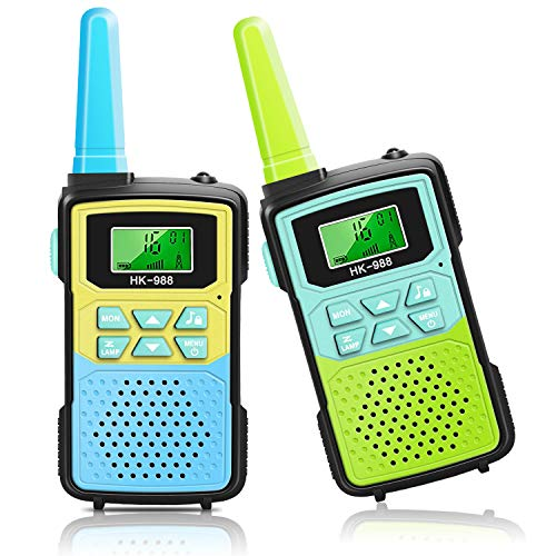 Walkie Talkies for Kids - 22 Channels 2 Way Radio with Backlit LCD Flashlight 3 KMs Children Handheld Radio Toy,Best Toys Gift for 3-12 Year Olds Boys Girls to Outside,Camping,Hiking (Blue Green)