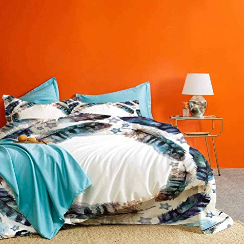 prunushome Bed Set Spiral Vortex Concentric Form Design Feather with Curved Little Stars Image Best Material/Highly Durable Purple Teal 3 Pieces (1 Duvet Cover and 2 Pillow Shams) Twin Size