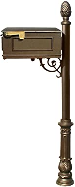 Qualarc Lewiston Cast Aluminum Post Mount Mailbox System with Post, Aluminum Mailbox, Ornate Base and Pineapple Finial, Bronz