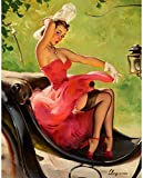 Gil Elvgren Pinup Girl Up in Central Park 1950 p7235 A2 Canvas - Art Painting...