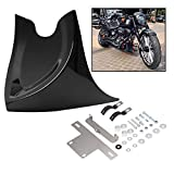 H-Ruo Black Lower Front Chin Spoiler Air Dam Fairing Cover for Harley Touring Softail Fatboy Dyna 2004-2017